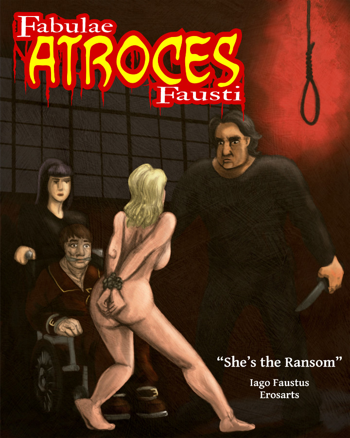 A bound naked blonde woman confronts her tormentors in an abandoned factory.